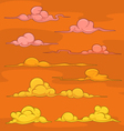 Sunset cartoon clouds vector image