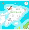 Greenland Mainland Cartoon Map with Fauna Species vector image