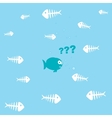 cartoon fish and a lot of fishbones vector image vector image