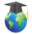 graduation cap on earth vector image vector image