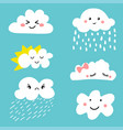 Cute and adorable cartoon weather clouds icon set vector image