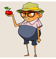 funny cartoon man holding a apple vector image