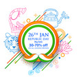 indian background with tricolor for 26th january vector image