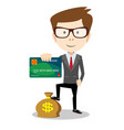 man in suit shows plastic card and money bag - vector image