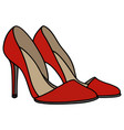 red high heel shoes vector image