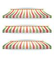 striped italian awnings set for italian pizzeria vector image