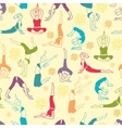 Workout fitness girls seamless pattern background vector image