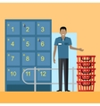 Lockers and Security Personnel in Supermarket vector image vector image