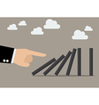 Businessman hand pushing the domino tiles vector image