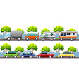 Different kind of transportations on the road vector image