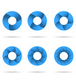 Circles segmented into parts set vector image