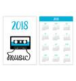 pocket calendar 2018 year week starts sunday vector image