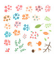 set of flowers leaves berries drawn in a simple vector image