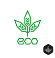 Three leaves natural eco logo Technical science vector image