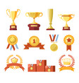 awards cups winner medals or champion ribbons vector image vector image