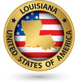 Louisiana state gold label with state map vector image vector image