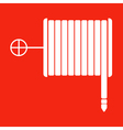 fire hose reel sign on a red background vector image