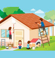 father mother son and daughter repairing home vector image