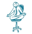 Office worker resting in lotus pose sketch vector image