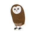 Owl Cute cartoon character hand-drawn grunge vector image