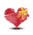 sketch drawing heart and ribbon vector image