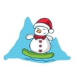 Snowman surfing character Christmas theme vector image