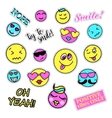 Pop art set with fashion patch badges Smiles vector image