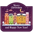 christmas card night house vector image