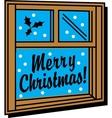 Merry christmas window vector image vector image