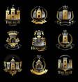 ancient castles emblems set heraldic coat of arms vector image