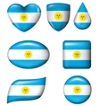 Argentina flag in various shape glossy button vector image