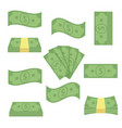 Set different banknotes money stack bills vector image