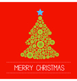 Christmas tree from green buttons Merry Christmas vector image