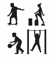 four children silhouettes vector image