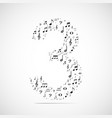number three made from music notes vector image