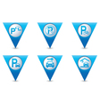 Set of 6 pointers parking BLUE triangular map vector image