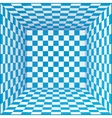 Blue and white chessboard walls room background vector image