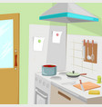 kitchen with furniture cozy kitchen interior vector image