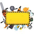 Old Yellow Frame with Tools vector image