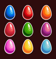 set of cartoon colorful eggs vector image