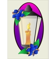Tattoo lantern and roses stencil vector image