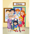 Doctor and patients at clinic vector image