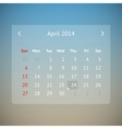 Calendar page for April 2014 vector image