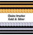 Chains metal brushes - gold and silver vector image