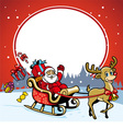 santa and the deer greeting christmas vector image