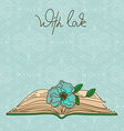 Card or invitation with book and flower vector image