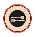 circular emblem with frying spoon set vector image