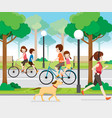 family riding bicycle in public park vector image
