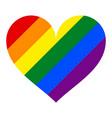rainbow pride flag lgbt movement in heart shape vector image