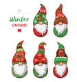 Set of gnomes with white beards and long red hats vector image